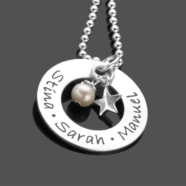 Namenskette Silber STAR & PEARL 925 Kette Gravur