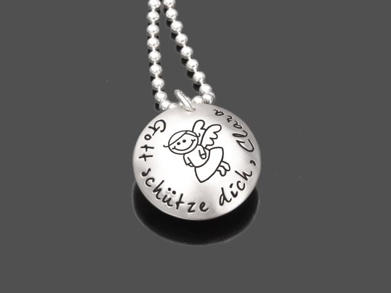 SCHUTZENGELCHEN MAXI 2.0 925 Silberkette Mädchen Gravur