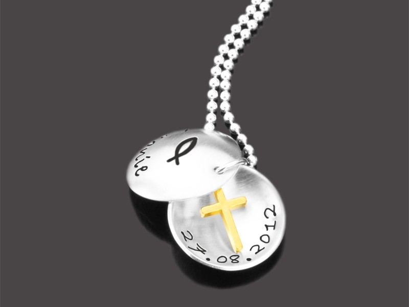 CHRISTENFISCH KREUZ 925 Silber Taufkette mit Namensgravur Taufschmuck