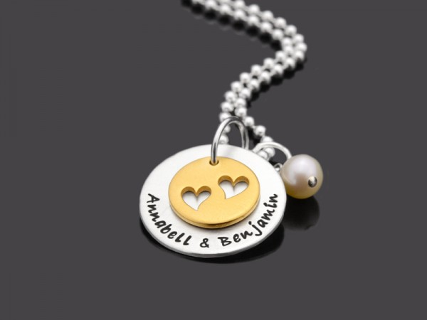 TWO HEARTS GOLD 925 Partnerkette Herz mit Gravur