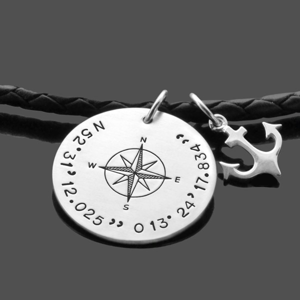 Herren Kette Kompass Gravur Koordinaten Anker
