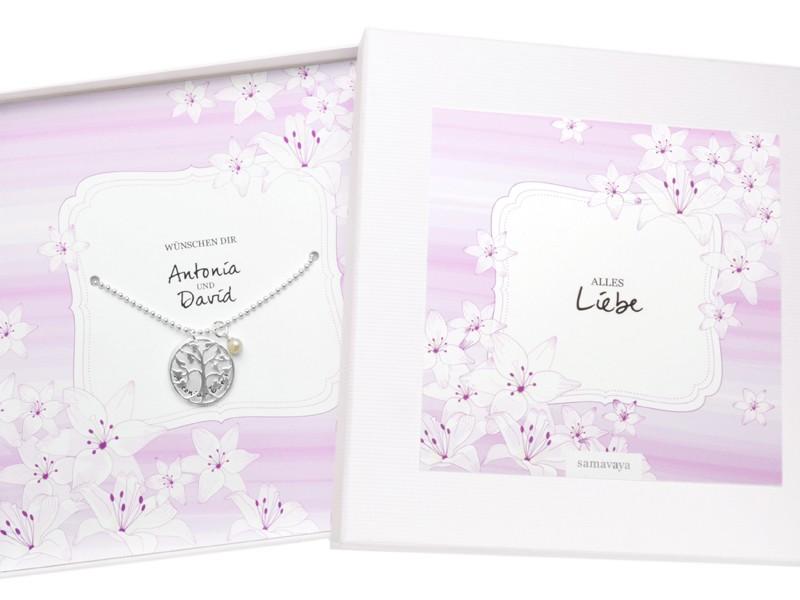 FAMILY TREE 925 Silberkette Geschenkverpackung Schmuck mit Gravur