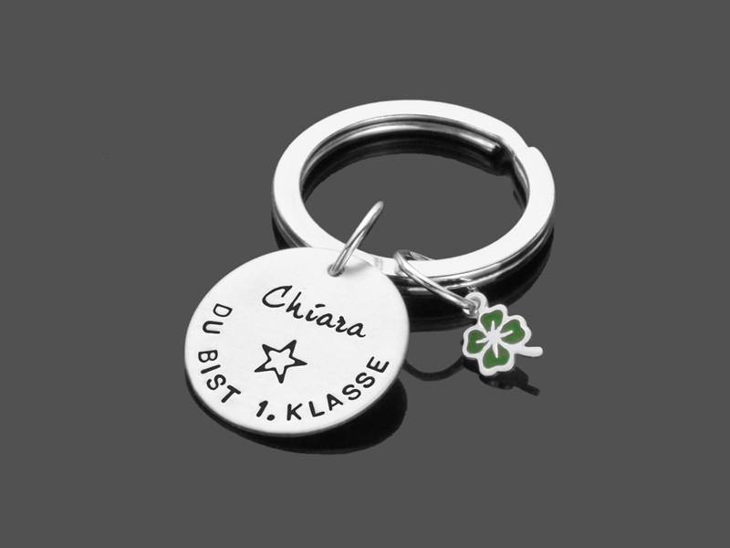 Schulanfang 1.KLASSE Schlüsselanhänger Geschenk zur Einschulung 925 Silber
