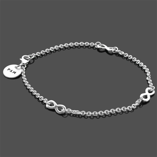 TOGETHERNESS Armband mit Gravur Initialen Infinity 925 Silber
