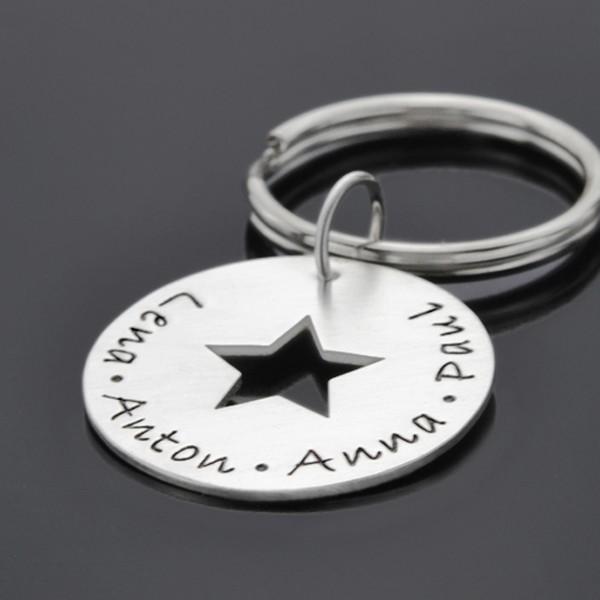Schlüsselanhänger mit Gravur und Stern