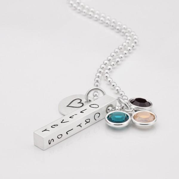 Silberkette-925-Silber-Familienkette-Geburtssteine