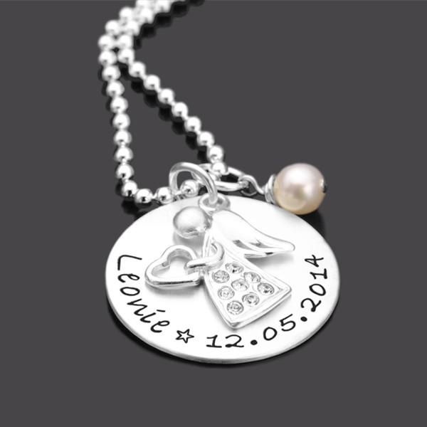 Taufkette Engel aus Silber mit Gravur