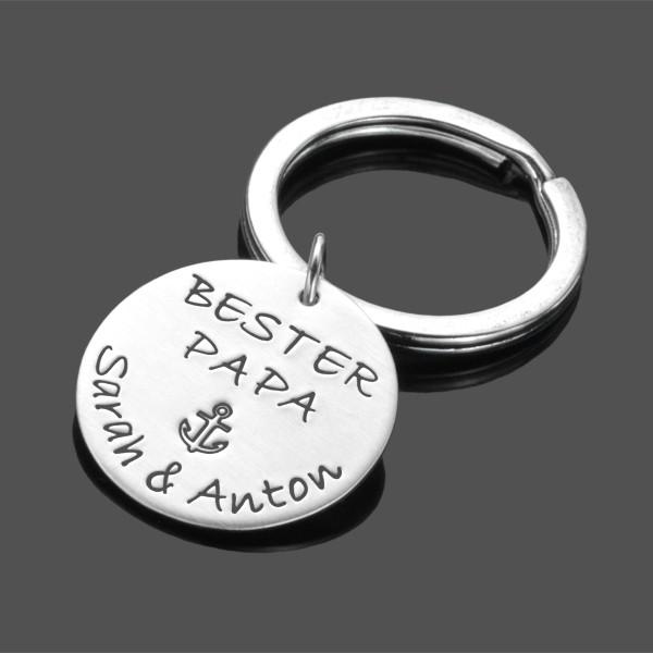 Schlüsselanhänger PAPA 925 Silberanhänger Gravur
