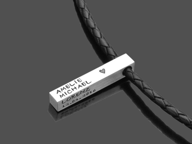Männerkette FBML DOUBLE 925er Silber Herrenschmuck mit Gravur am Lederband