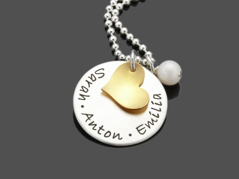 Namenskette Silber mit Herz