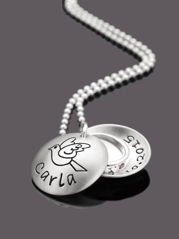 Taufkette GESEGNET 2.0 925 Silber Taufmedaillon mit Gravur