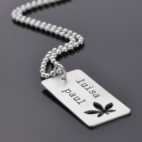 Herrenkette mit Gravur CHILL OUT 925 Silber Männerkette mit Hanfblatt und Namen