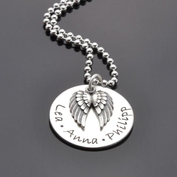 GUARDIAN 925 Silber Kette, Textschmuck mit Namen, Flügelanhänger