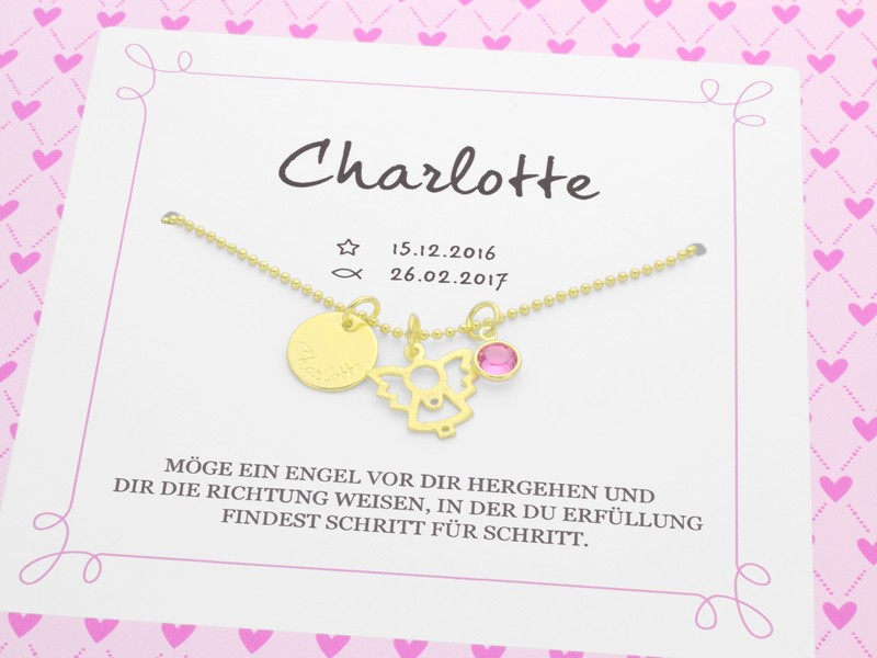 Taufkette mit Geschenkbox MEIN ENGEL GOLD 925 Taufgeschenk Namenskette