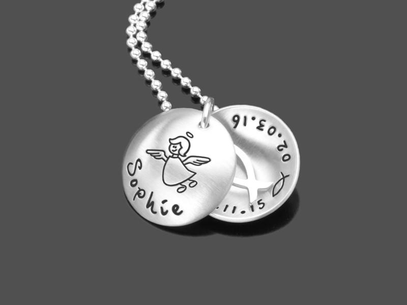 Silberkette BELIEF 925 Taufkette mit Gravur Taufschmuck Name