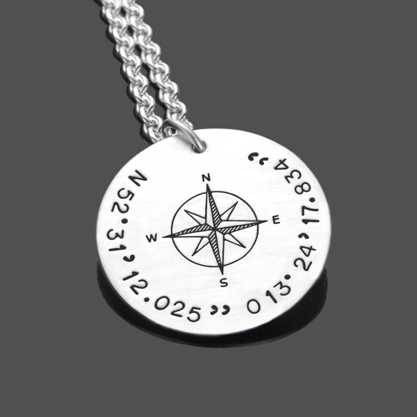 Herren Kette GPS 925 Sterling Silberkette Gravur Koordinaten Kompass