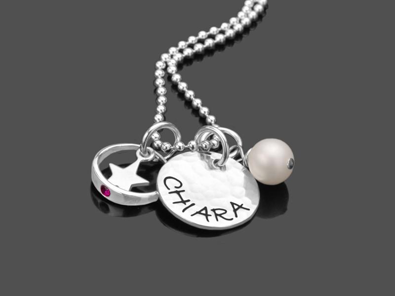 Taufgeschenk SHINY STAR 925 Silber Namenskette Taufschmuck mit Gravur