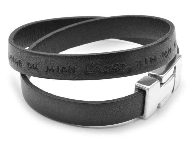 Herrenarmband aus Leder mit Text, personalisiert