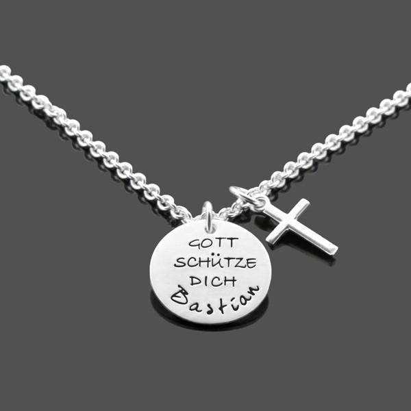 Taufkette-Junge-GOTT-SCHUeTZE-DICH-Kreuz-Silberkette