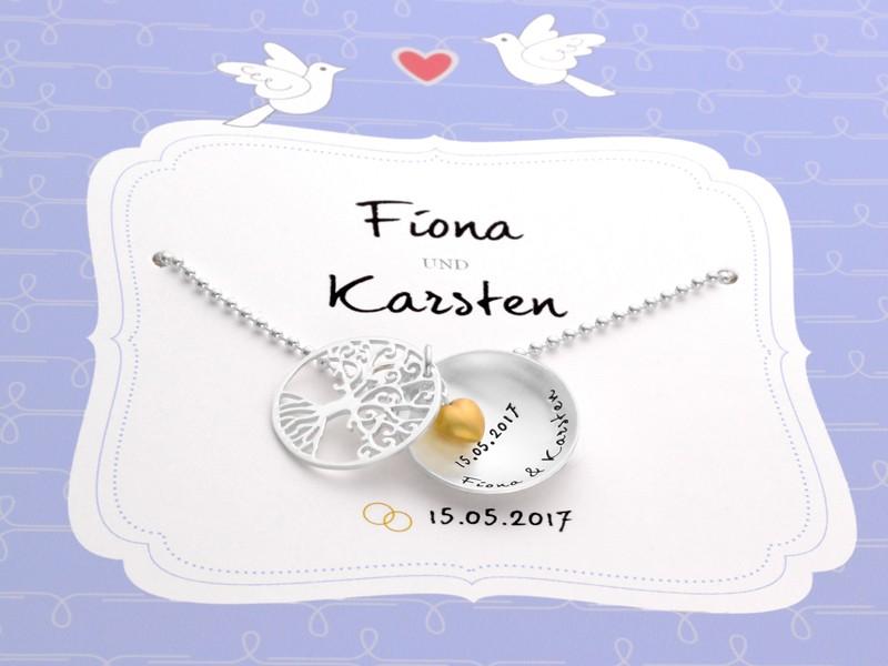 Kette mit Gravur TREE OF LOVE HEART 925 Silber Geschenkverpackung