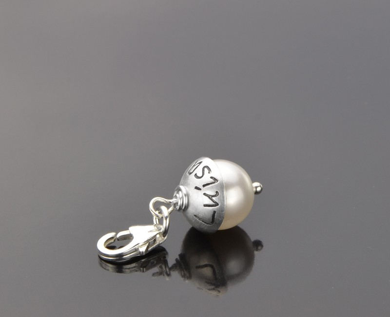 LEAVE YOUR HAT ON PEARL 925 Silber Charm mit Namen