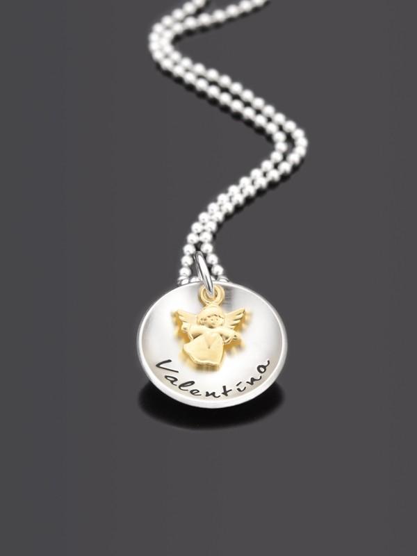 GOLDENGELCHEN 925 Silber Kette Namenskette mit Gravur