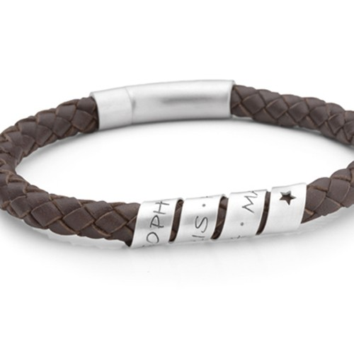 LOOP MEN STAR BROWN 925 Silber Herrenarmband mit Gravur