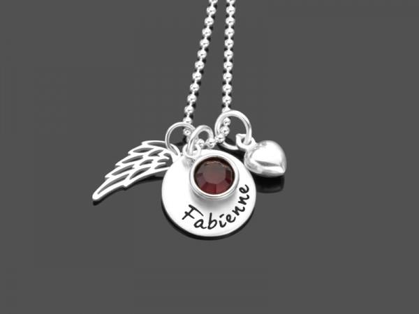 Namenskette PRACHTVOLL 925 Silber Kette mit Gravur Engelsflügel