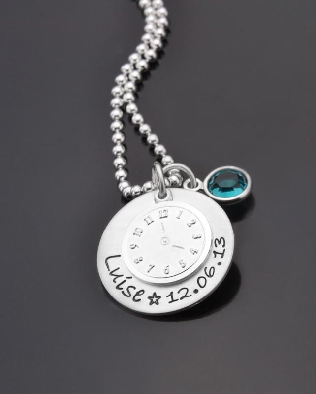 DATE OF BIRTH 925 Silberkette mit Taufuhr, Taufschmuck mit Name
