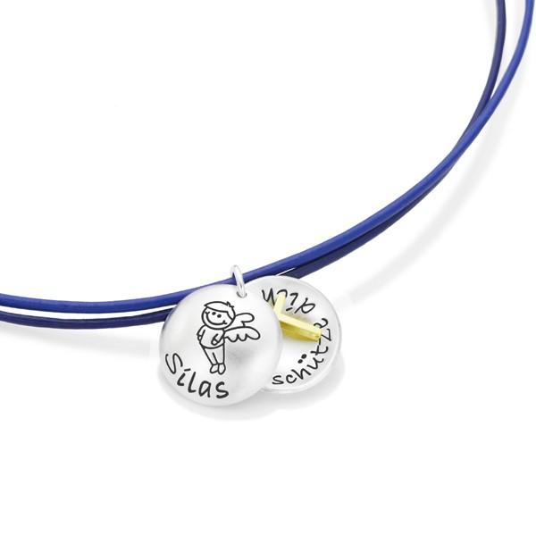 Taufkette-Jungen-Kreuz-925-Silber-Lederkette-Schutzengel