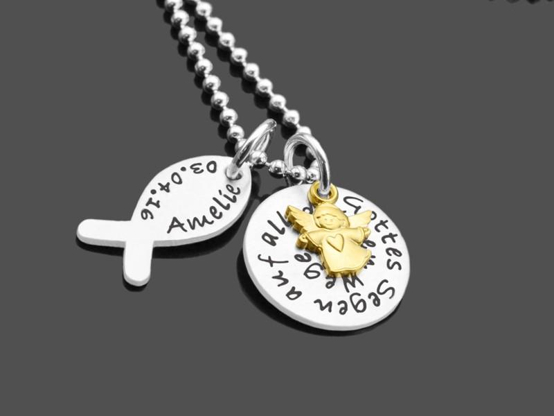 GOTTES SEGEN ICHTHYS 925 Taufkette mit Namensgravur Textschmuck