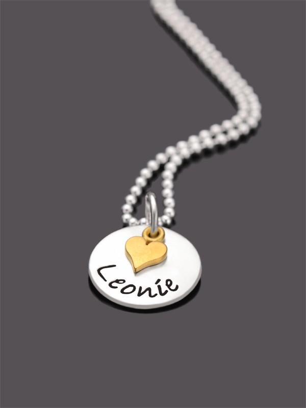KLEINES HERZ GOLD 925 Silberkette mit Namensgravur