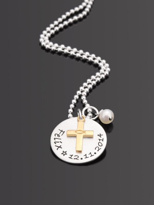 SEGNE MICH GOLD 925 Silber Taufkette mit Namensgravur, Kinderschmuck