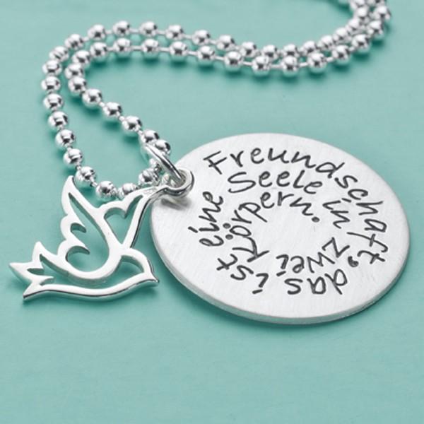 FREUNDSCHAFT 925 Silber Kette, Textschmuck mit Wunschtext, Gravur