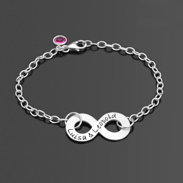 Armband aus Silber mit Gravur und Unendlichzeichen
