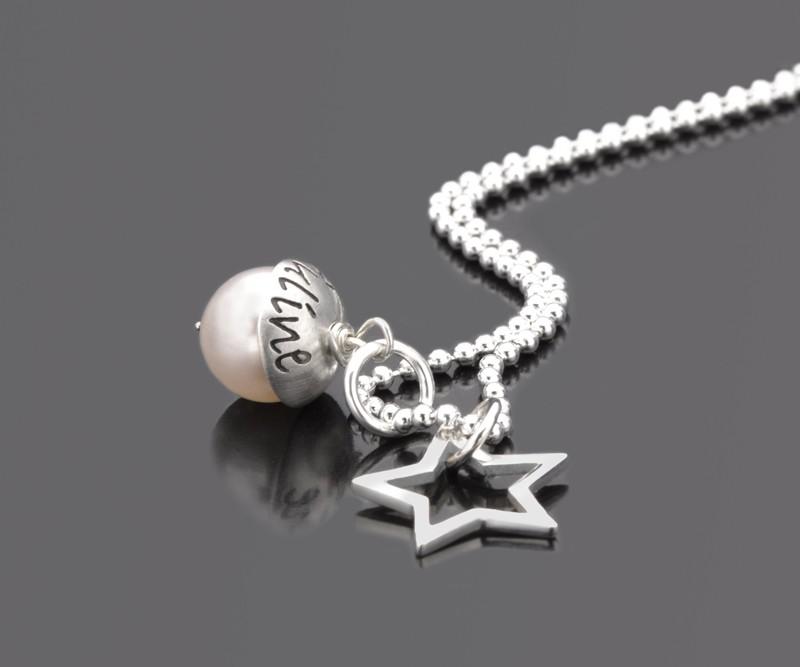 Namenskette LYHO STAR Kette mit Gravur Silber
