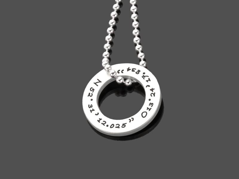 Kette mit Gravur GEO RING 925 Silberkette Koordinaten Gravurschmuck