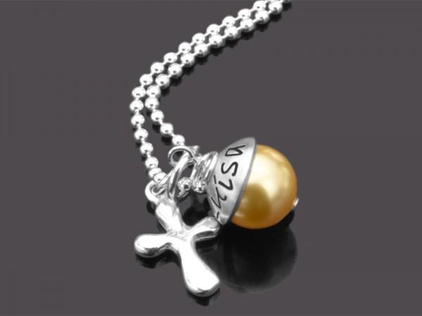 LYHO KREUZ Silberkette Namenskette mit Gravur Konfirmation Kommunion