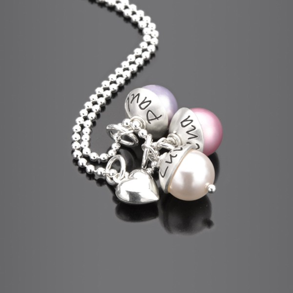 LYHO TRIPLE HEART 925 Silberkette mit Namensgravur