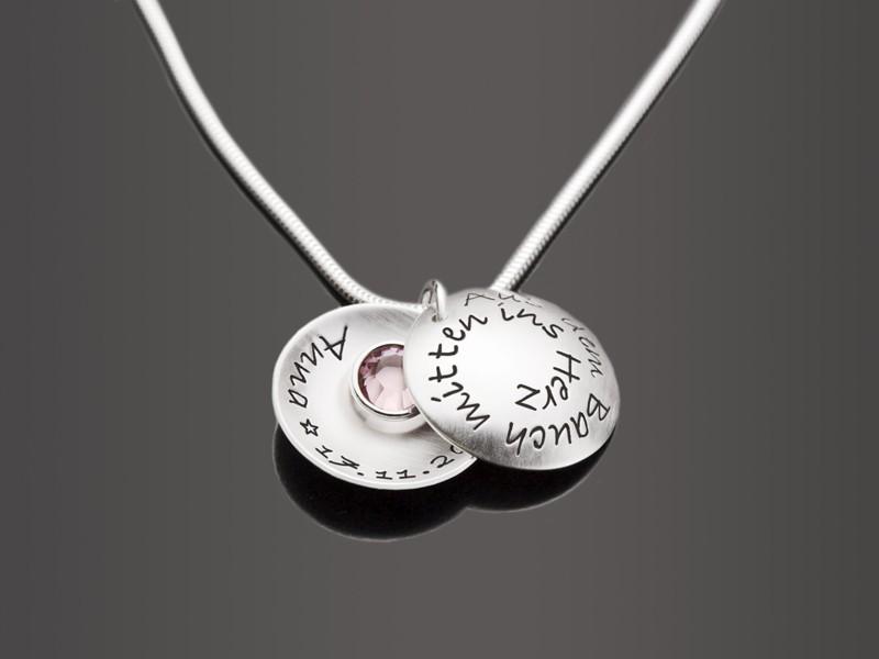 MITTEN INS HERZ 925 Silber Medaillon, Partnerschmuck, Paarkette