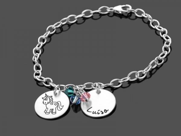 Kinderarmband mit Gravur EINHORN REGENBOGEN 925 Silberarmband