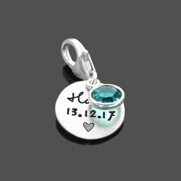 Anhaenger-Taufe-925-Silber-Charm-Gravur-Kristall-Taufgeschenk