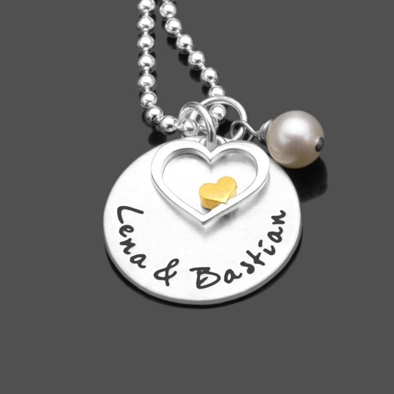 Silberkette mit Namensgravur und Herzanhänger
