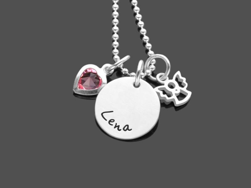 Kinderkette MEIN KLEINER ENGEL ROSAHERZ 925 Silber Namenskette