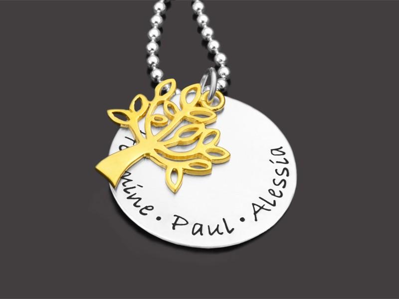 Namenskette aus Silber und Gold mit Gravur und Lebensbaum