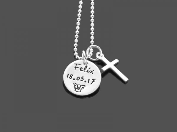 Taufgeschenk Taufkette MEINE TAUFE KREUZ 2.0 925 Silberkette Namensgravur