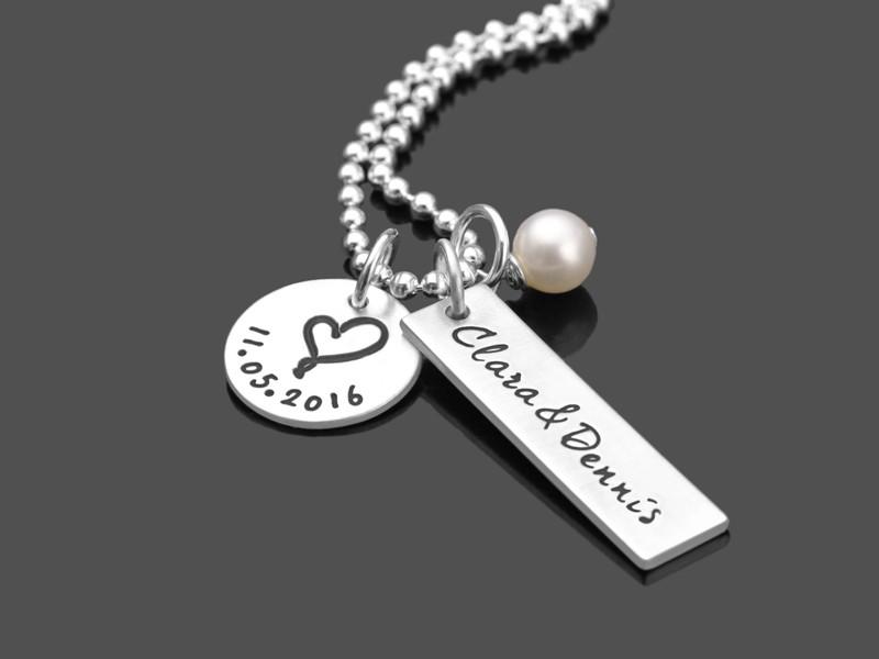WAHRE LIEBE Silber Partnerschmuck mit Gravur Hochzeit Jahrestag