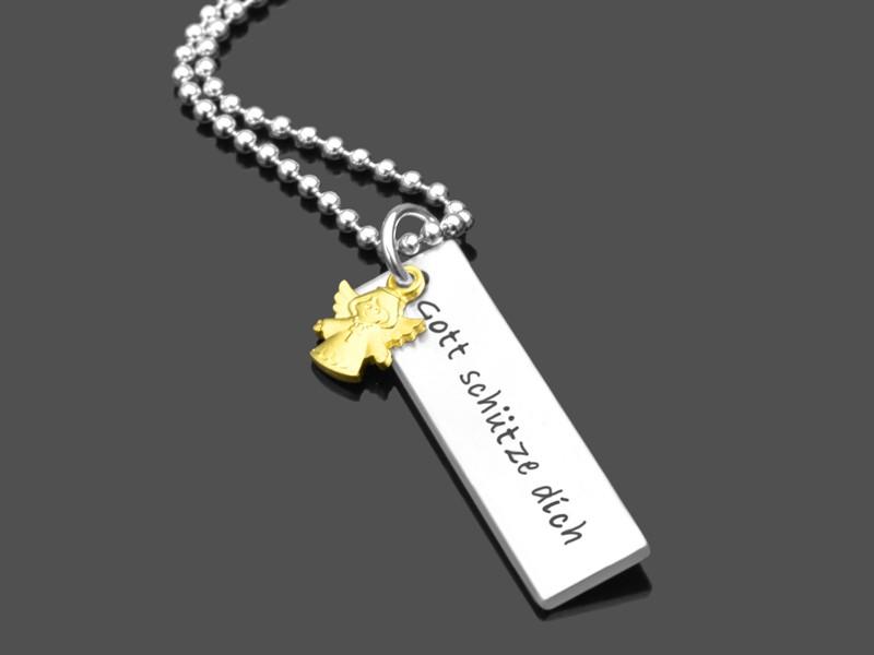 BESCHÜTZT 925 Taufkette mit Namensgravur Taufschmuck Silberkette