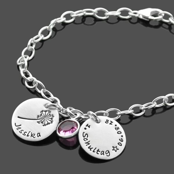 Namensarmband Einschulung ALLE GUTEN WÜNSCHE 925 Silber Geschenk zur Einschulung