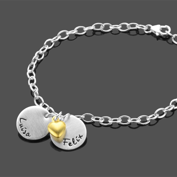 Armband mit Gravur MON AMOUR 925 Silberarmband Partner Liebe